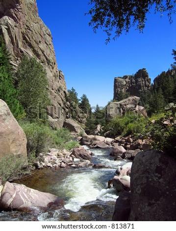 Mountain stream in Colorado's Front Range - stock photo
