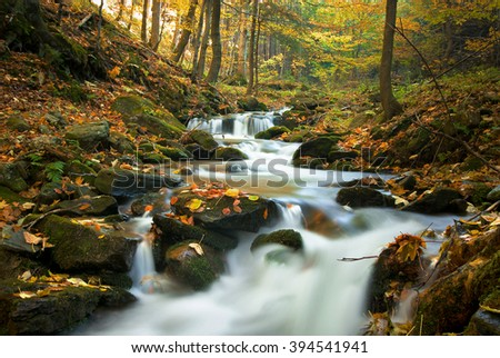 Mountain stream in forest at autumn time, fall - stock photo