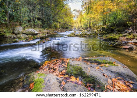 Mountain stream in Great Smoky Mountains National Park with fall colors on display - stock photo