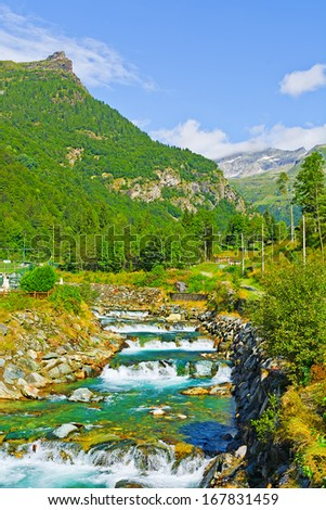 Mountain Stream in the Italian Alps, Piedmont - stock photo