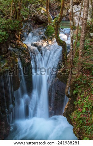 Mountain stream in the Lepena valley in Slovenia - stock photo