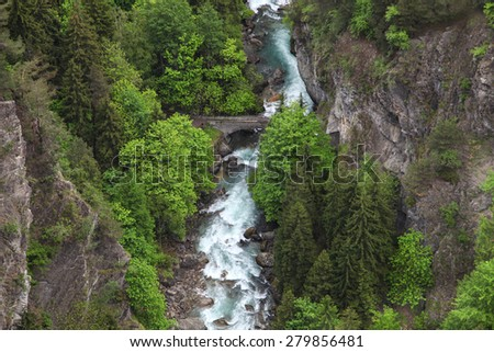 Mountain stream. Top view - stock photo