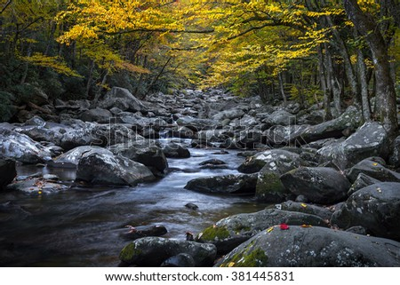 Mountain stream with fall colors in the Great Smoky Mountains - stock photo