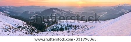 Mountain sunrise panorama (Yasenja village, Carpathian, Ukraine). - stock photo