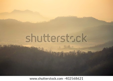 mountain, sunrise, selective focus, blur