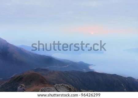 mountain sunset - stock photo