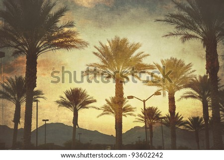 Mountain sunset in Las Vegas - stock photo