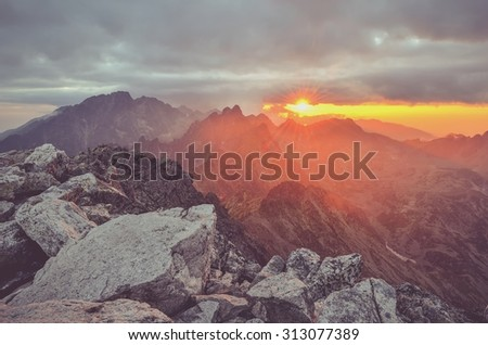 Mountain sunset landscape. Sunset in Slavkovsky Stit in High Tatra Mountains, Slovakia.