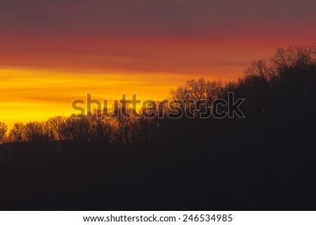 mountain sunset near Asheville North Carolina - stock photo