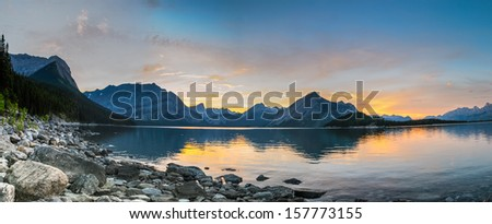 Mountain sunset over Kananaskis Lake, Alberta Canada