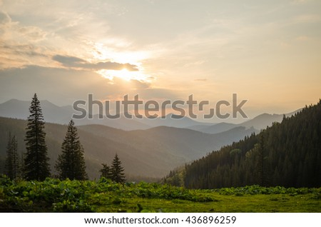 Mountain sunset panorama in Ukrainian Carpathians