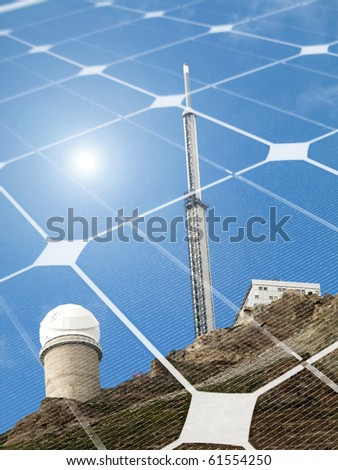 Mountain telescope observatory  with shining sun and  photovoltaic panel - stock photo