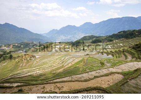 Mountain terraced landscape - stock photo
