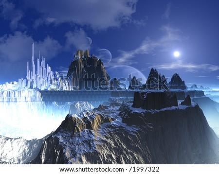 Mountain Top Futuristic Alien City - stock photo