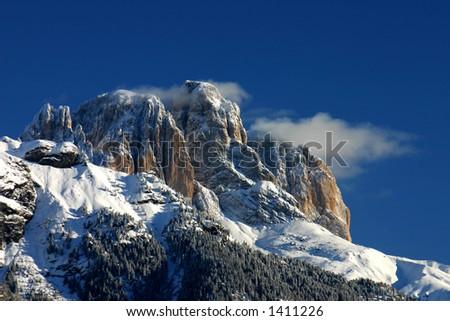 Mountain top in the dolomiti mountains - stock photo
