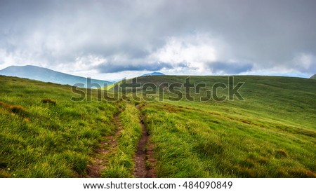 Mountain trail in Carpathians, nature landscape, Ukraine