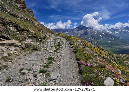 Mountain trail over the col du Mont Cenis - stock photo