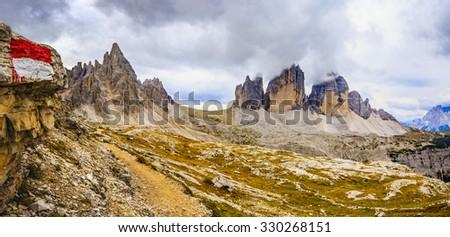 Mountain trail - Tre Cime di Lavaredo, Dolomites, Italy - stock photo