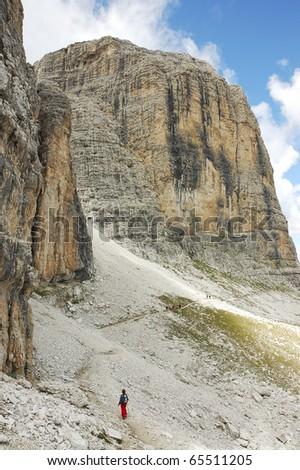 Mountain trek in summer around Sella massif in Italian Dolomites. - stock photo