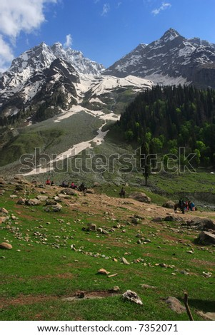 Mountain trekking in the Himalayas of Kashmir, India. - stock photo