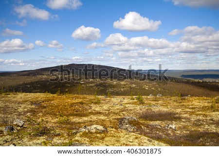 mountain tundra and forest at  bottom of  wonderful polar landscape