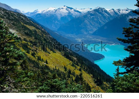 Mountain Turquoise Lake in Canada (Cheakamus Lake) - stock photo