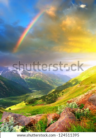 Mountain valley and bright sky after rain. - stock photo