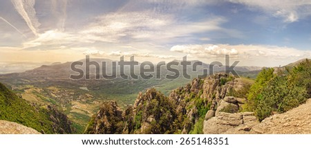 Mountain valley at dawn - stock photo