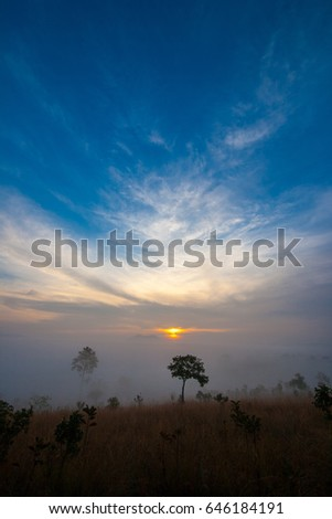 Mountain valley during sunrise at Thung Salaeng Luang National Park, Phitsanulok, Thailand