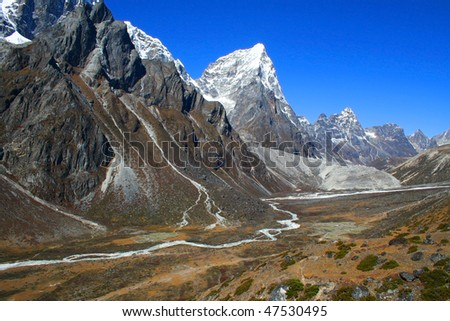 Mountain valley, Everest trail, Nepal - stock photo
