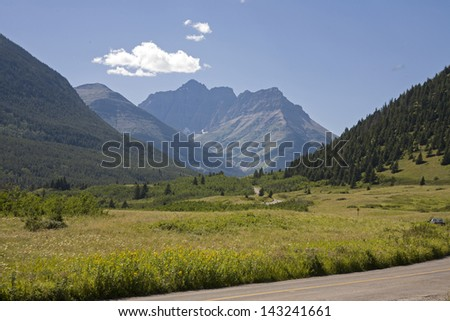Mountain valley in national park - stock photo