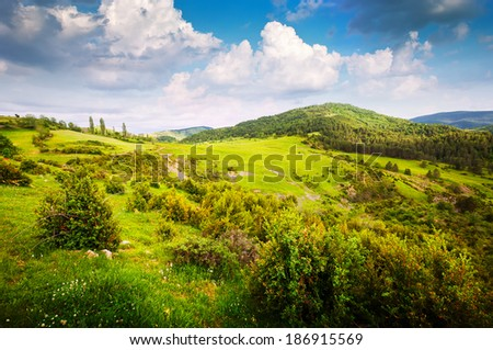 mountain valley in Pyrenees. Aragon - stock photo