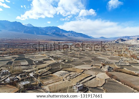 mountain valley in the Himalayas, northern India, Leh - stock photo