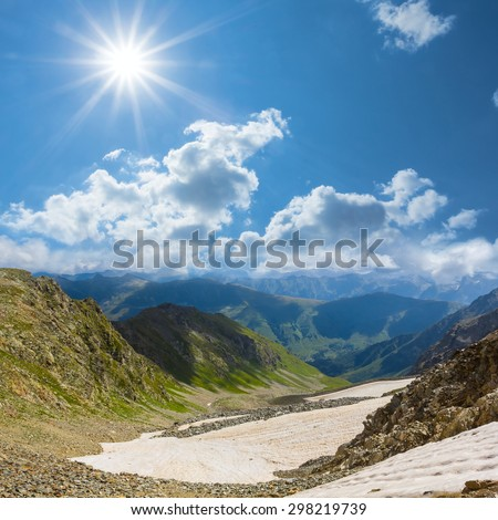 mountain valley panorama - stock photo