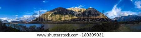 Mountain valley panorama near ,Arthur's Pass National Park,South island, New Zealand  - stock photo