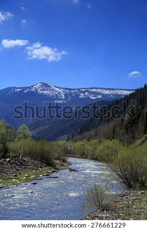 Mountain valley with river in Carpathians, Ukraine - stock photo