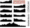 Mountain vector silhouettes (eg. Mount Everest) - stock photo