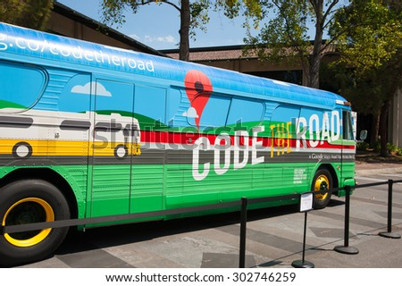 MOUNTAIN VIEW, CA - AUGUST 1, 2015: Google's Code the Road bus parked at Google headquarters in Mountain View, California on August 1 2015 - stock photo
