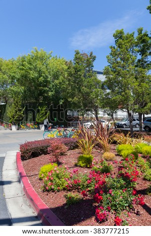MOUNTAIN VIEW, CA/USA - AUG 14, 2014: Exterior view of Google office. Google is a multinational company specializing in Internet related services and products, and it's the best place to work in 2014.