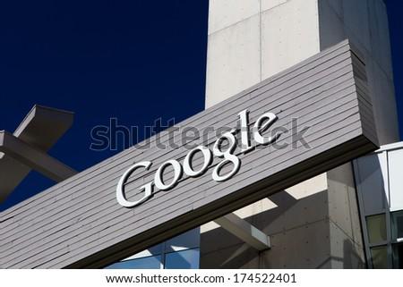 MOUNTAIN VIEW, CA/USA - FEBRUARY 1, 2014: Exterior view of a Google's Googleplex Corporate headquarters. Google is a multinational corporation specializing in Internet-related services and products. - stock photo