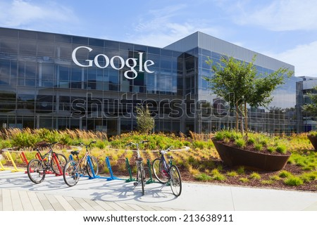 MOUNTAIN VIEW, CA/USA - July 14, 2014: Exterior view of a Google headquarters building. Google is an American multinational corporation specializing in Internet-related services and products - stock photo