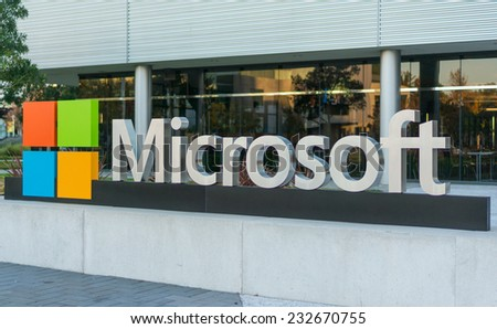 MOUNTAIN VIEW, CA/USA - NOV 22, 2014: Microsoft corporate building in Mountain View, CA. Microsoft is a multinational company that develops and sells computer software and consumer electronics. - stock photo