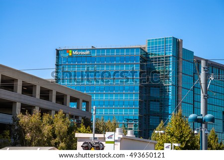 Mountain View, California, United States   August 15, 2016: Microsoft Sign  Adorns Part 72