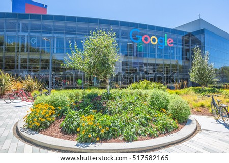 Mountain View, California, USA - August 15, 2016: Exterior view of a Google headquarters building. Google is specializing in Internet services