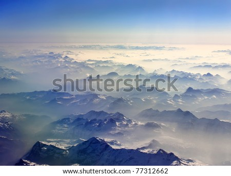 mountain view from airplane - stock photo