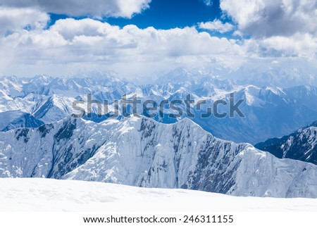 Mountain view  from the top of Lenin Peak in Pamir region, Kyrgyzstan