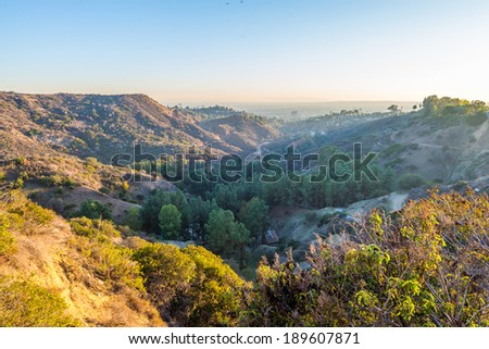 Mountain view from top of Hollywood Hill during sunset - stock photo