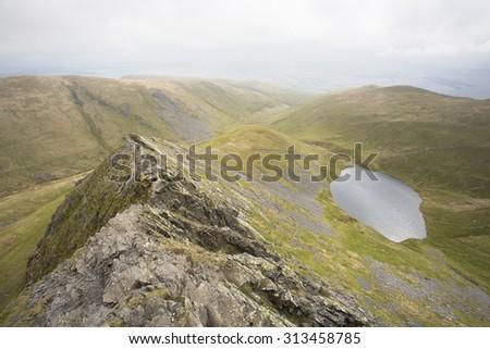 mountain view in cumbria, england - stock photo