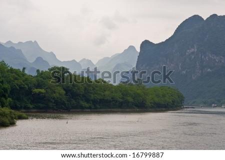 Mountain view in Li River cruise, Guilin, China - stock photo