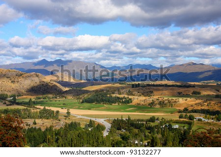 Mountain view in New Zealand's Otago region. South Island.